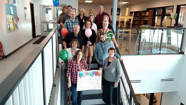 BBHS staff celebrate their 20.44% increase in graduation rate climbing to 59.46% in 15-16. Staff pictured include from upper left: Connie Zampedri, Jerry Coulson, Wanda Maloney, Stephanie Tolman, Mike Maloney, Brad Cox, Kelly McGovern, Janette VanPatten, Shayn Stillson, Sharon Seaton, Kathy Sisemore, Jeannie Coulson, Adam Gonzales, Shari Kumer, and Janelle Parton.